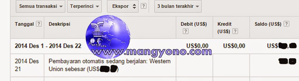 Payment In Progress Google Adsense Tgl. 22 Desember 2014