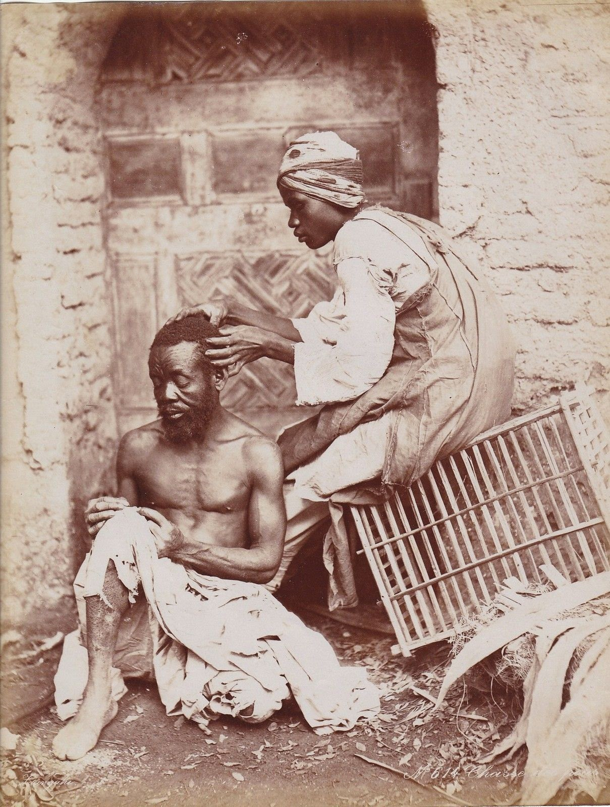 The Flea Hunt - Zangaki Brothers Photograph, Egypt c1875
