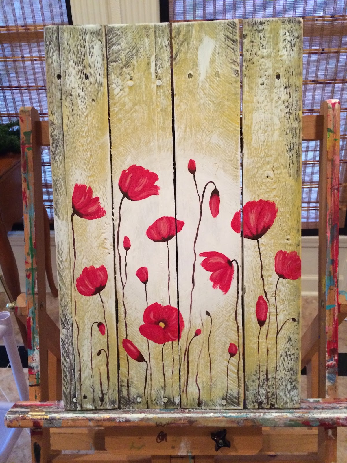 Amy parker art poppy flowers pallet wood painting for Mural art on wood
