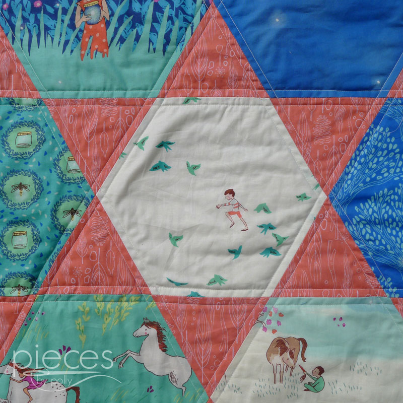 Pieces by Polly: Giant Hexies Quilt with Wee Wander Fabrics - FREE ... : hexie quilt - Adamdwight.com