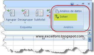 Cargar el complemento Solver en Excel.