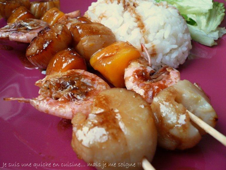 Brochettes de noix de saint jacques mangue et crevettes for Brochette noix de saint jacques