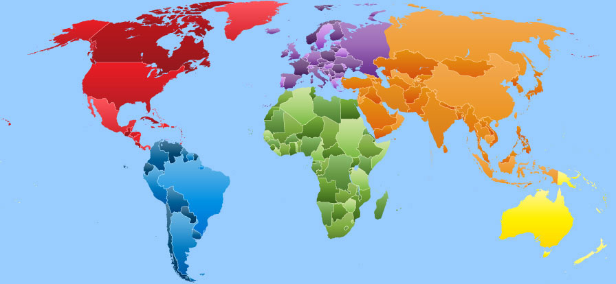 World map continents topix this world map displays six color codedcontinents and their countries gumiabroncs Image collections