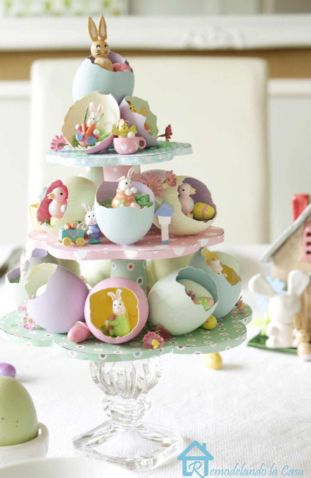 real egg shells used for Easter egg tree centerpiece