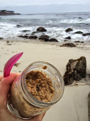 healthy cookie dough overnight oats at the beach