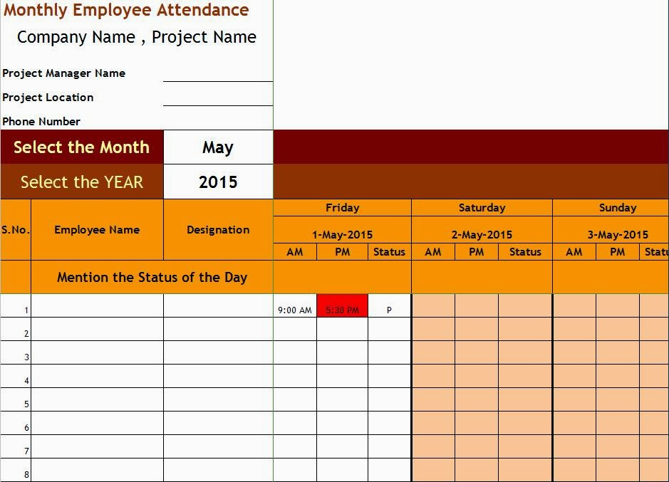 Doc.#995489: Office Attendance Sheet Excel Free Download