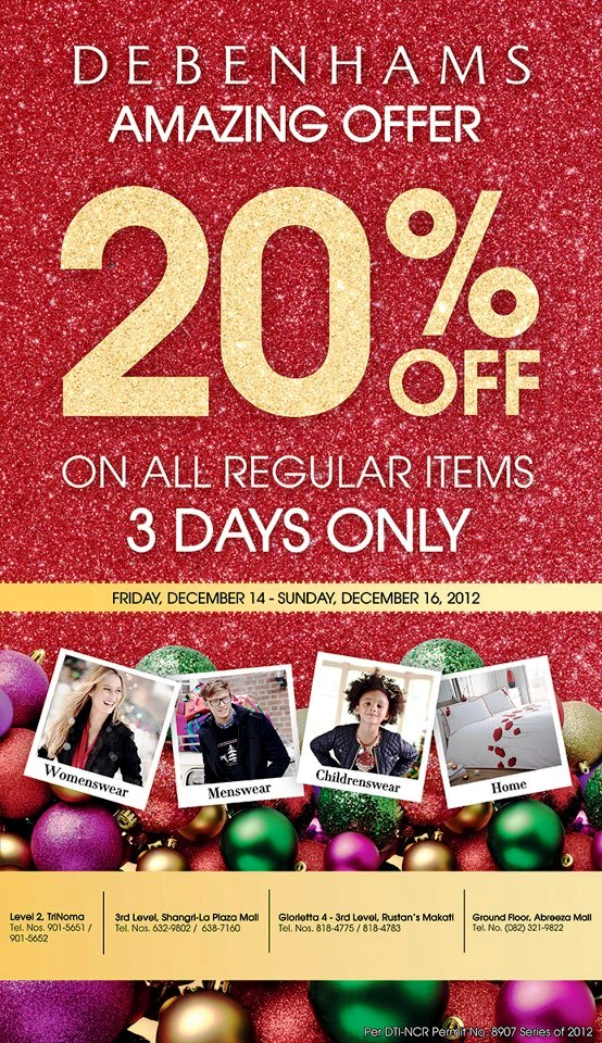 Manila shopper debenhams holiday sale 2012 for Christmas decs sale
