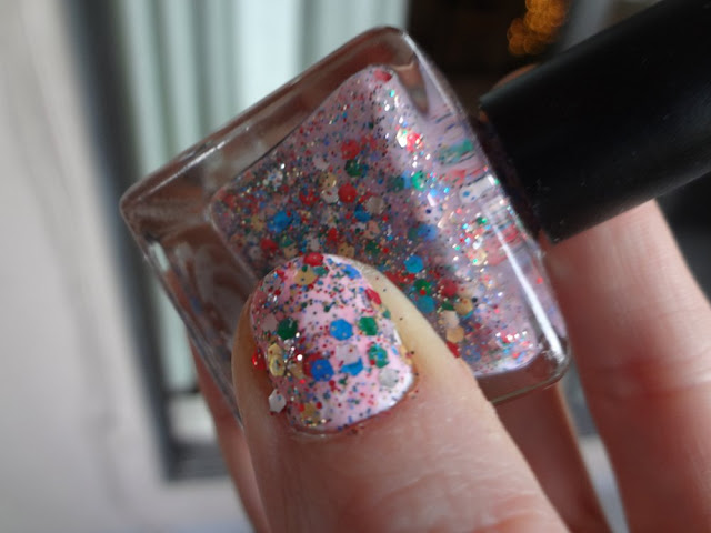 lollipop nail polish swatch outside close up