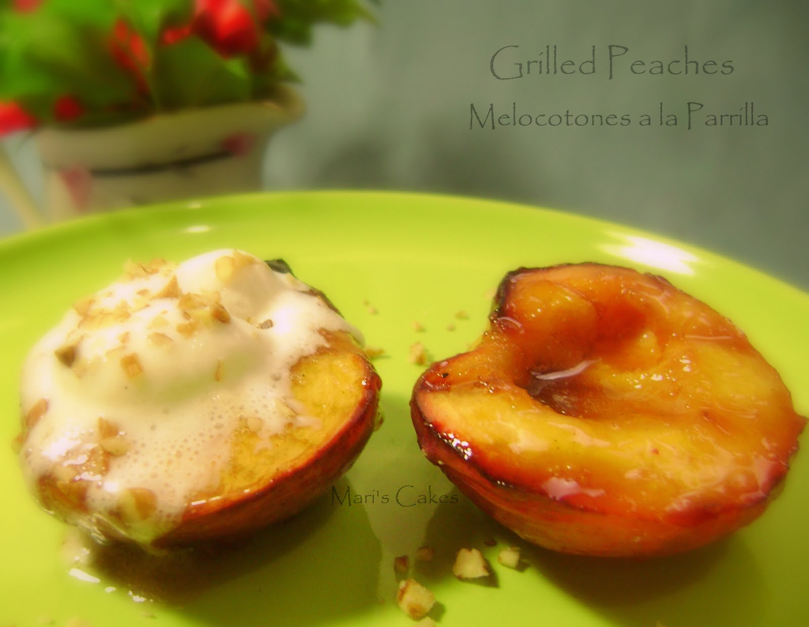GRILLED PEACHES WITH CINNAMON SYRUP | Mari's Cakes (English)