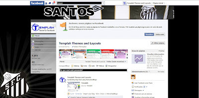 Tema skin para Facebook com time do Santos