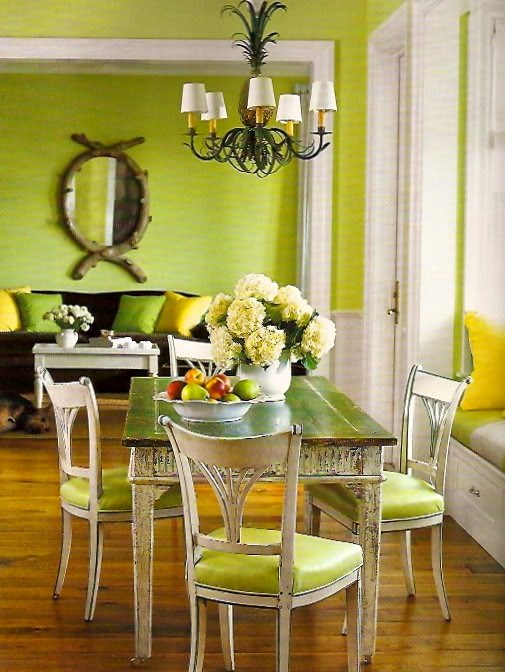 monochromatic dining room in live green
