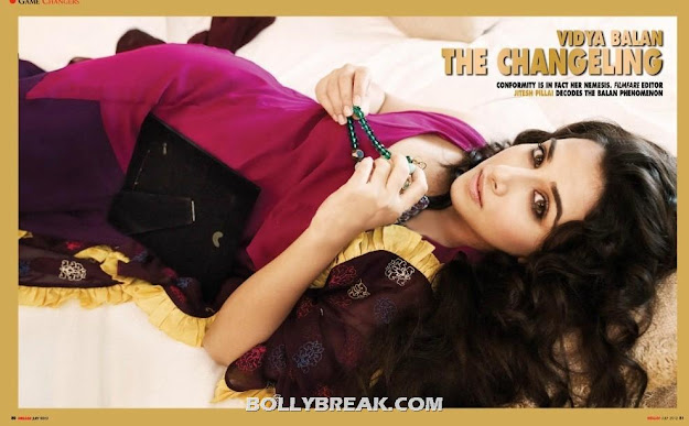 Vidya Balan sleeping on bed hello magazine -  Vidya Balan Hello! India – July 2012 HQ Scans