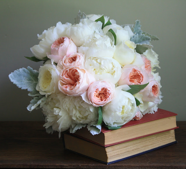 David Austin Rose & Peony Bouquet with lace