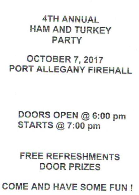 10-7 4th Annual Ham & Turkey Party