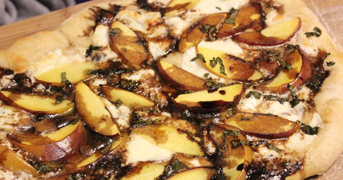 ... MOM CAFE: Meatless Monday: Peach, Basil, Mozzarella, & Balsamic Pizza
