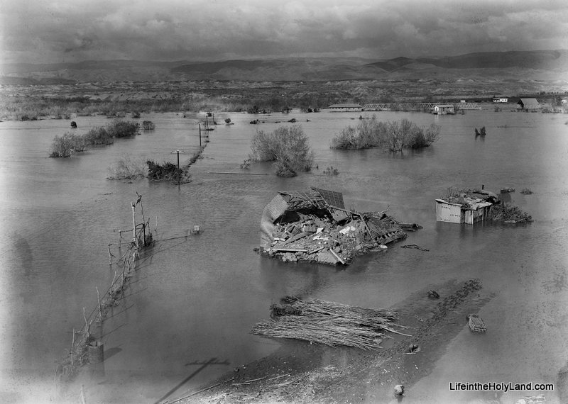 The Jordan River, in 1935, as it overflowed its banks. The Allenby Bridge can be seen in the upper-right portion of the photograph