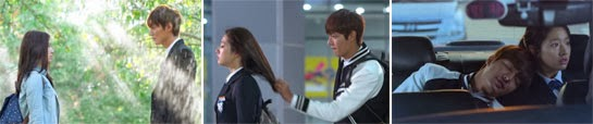 Kim Tan and Eun Sang in the orchard, at school and riding in the car.