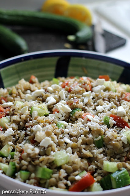 Vegetarian Dish - Brown rice with lentils, cucumbers, tomatoes &amp; feta