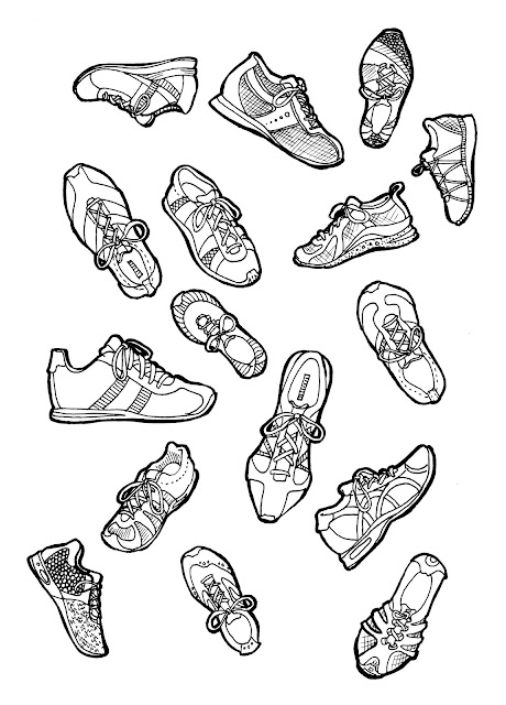 adult-coloring-page, running-shoes, adult-coloring-book, walking-shoes