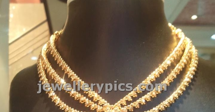 Three String Uncut Necklace With Centre Ruby Latest