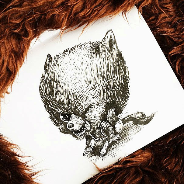 24-Werewolf-Alex-Solis-Baby-Terrors-Drawings-Horror-Movie-Villains-www-designstack-co
