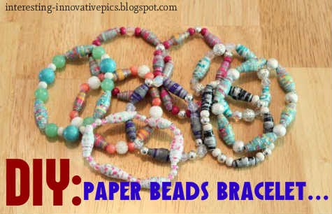 making an attractive bracelet idea for party wear, paper beads bracelet making tutorial