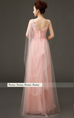 Rose Pattern Lace with Back Drape Net Lace Overlay Bridesmaid Dress