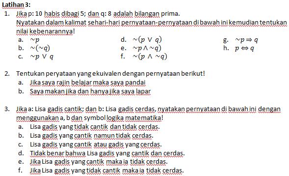Sekolah Matematika Soal Latihan Logika Matematika Kelas X Pbk