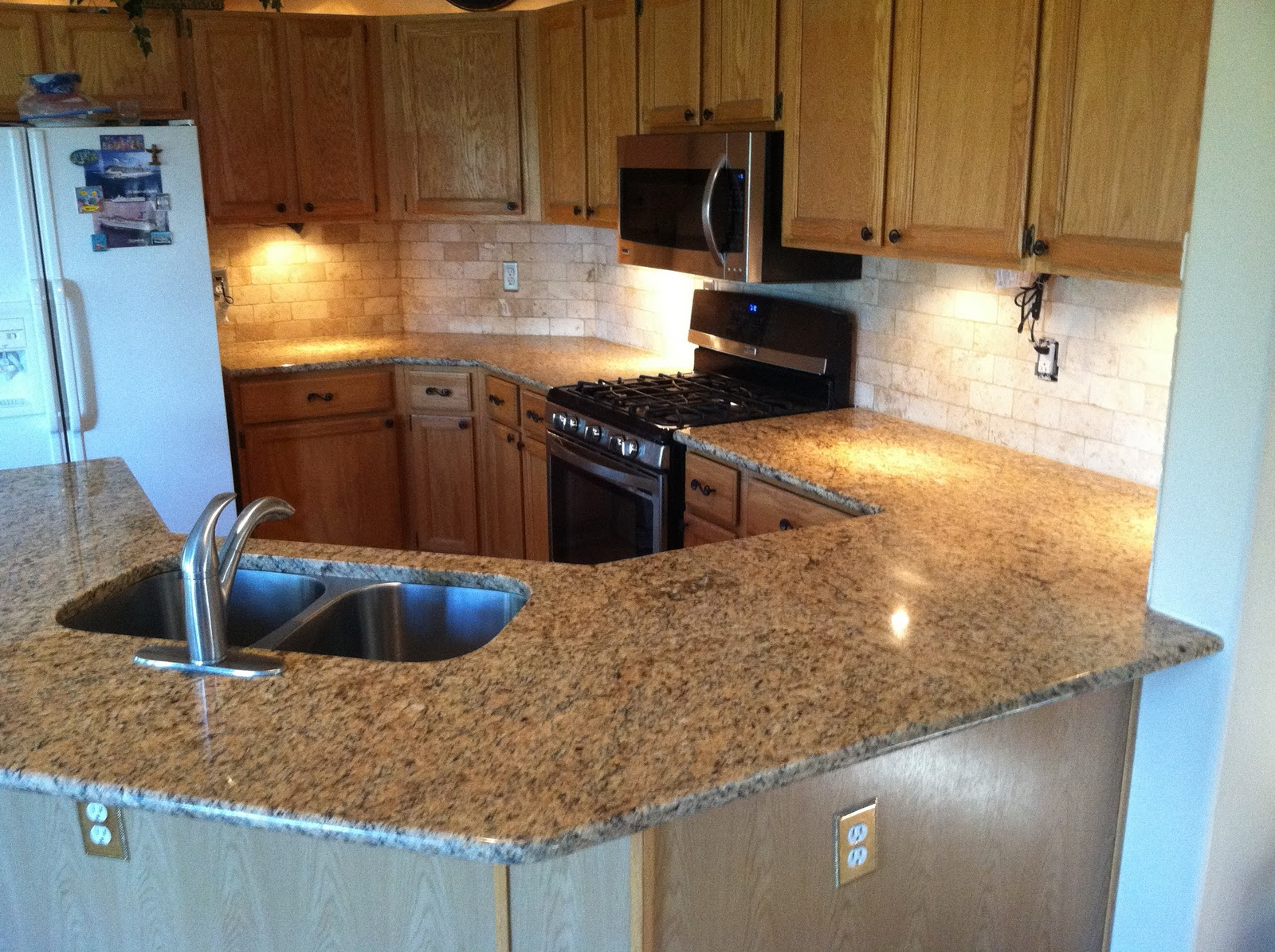... Kitchen We Completed In New Venetian Gold, And For All Countertop And  Backsplash Materials And Labor This Kitchen Cost $4,300.