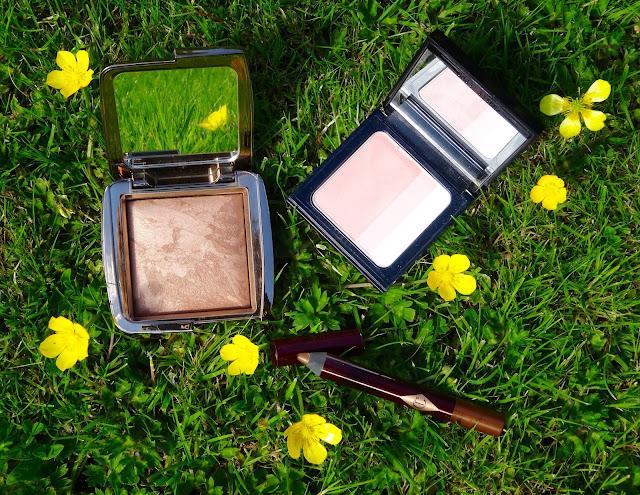 Hourglass Ambient Lighting Bronzer Radiant Bronze, Bobbi Brown Pink Brightening Blush, Charlotte Tilbury Colour Chameleon in Amber Haze