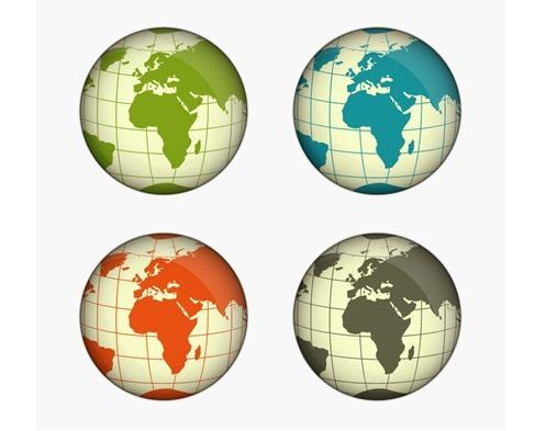 Green, Blue, Yellow and Gray Globe Vector Illustration