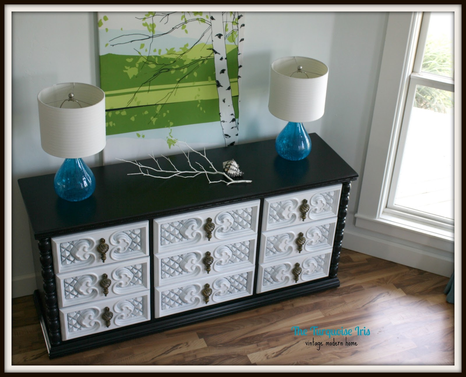 the turquoise iris furniture art vintage glossy dresser in black and white. Black Bedroom Furniture Sets. Home Design Ideas