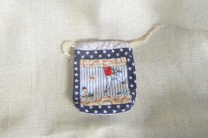 Small Drawstring Gift Bag in Baseball Fabric - $5.00