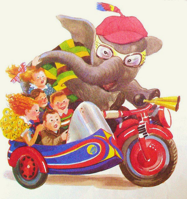elephant on a motorcycle with sidecar illustration by Feodor Rojankovsky