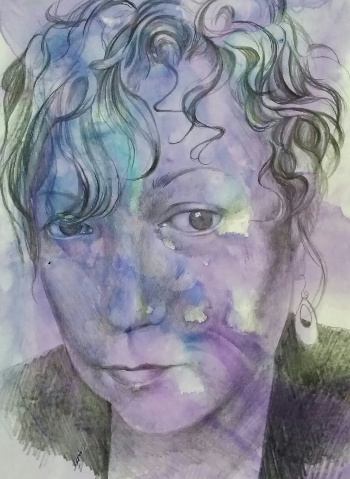 Self portrait, watercolor and graphite on Terraskin paper