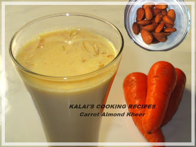 Carrot Almond Kheer | Carrot Badam Payasam | கேரட் பாதாம் பாயசம்