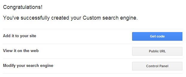 Google Custom Search Engine.