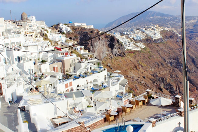 Imerovigli in Santorini, natural beauty, luxury travel destinations in Greece. Greek island.