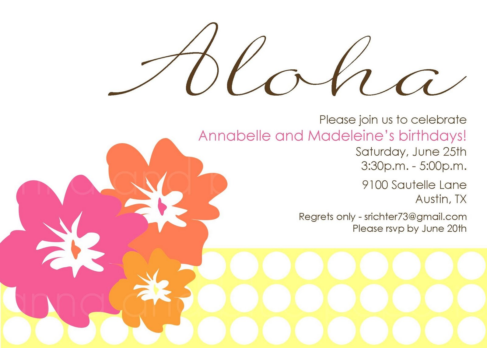 anna and blue paperie: {Party in the Works} Aloha Summer Invitation