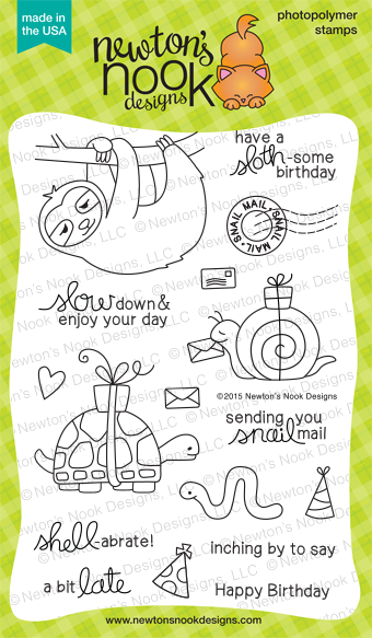 In Slow Motion | 4x6 photopolymer Slow Animal Birthday Stamp Set | Newton's Nook Designs