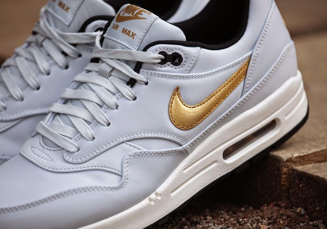 "Nike Air Max 1 PRM QS ""Pure Platinum/MTLLC Gold-BLK"""
