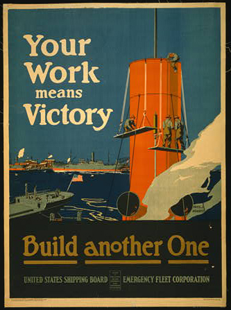classic posters, free download, graphic design, military, propaganda, retro prints, united states, vintage, vintage posters, war, Your Work Means Victory, Build Another One, US Shipping Board - Vintage War Military Poster
