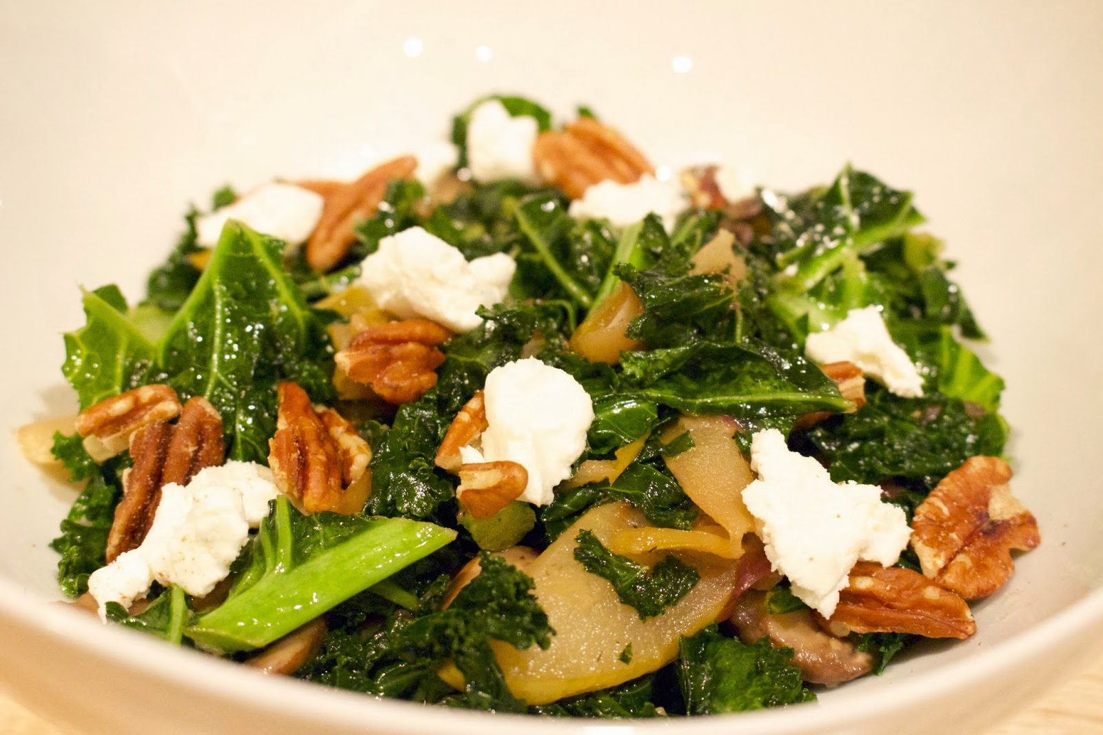 Warm Kale salad with apples and goat cheese | Fit Girl's Kitchen