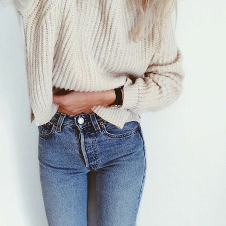 Oversized knit sweater, vintage jeans
