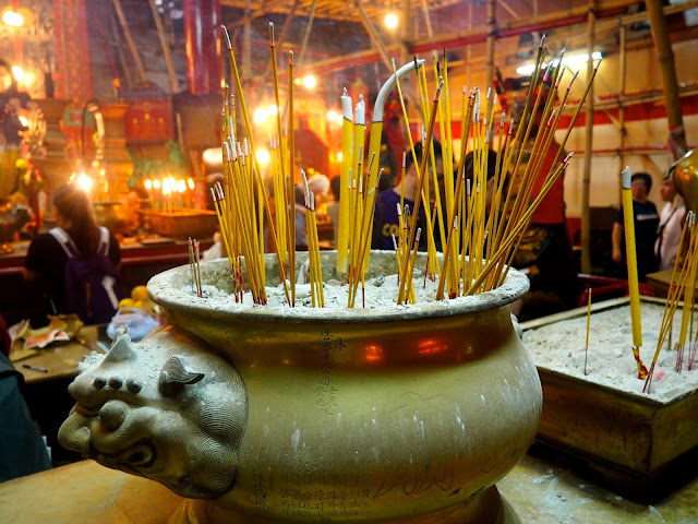Burned incense sticks inside Man Mo Temple, Sheung Wan, Hong Kong