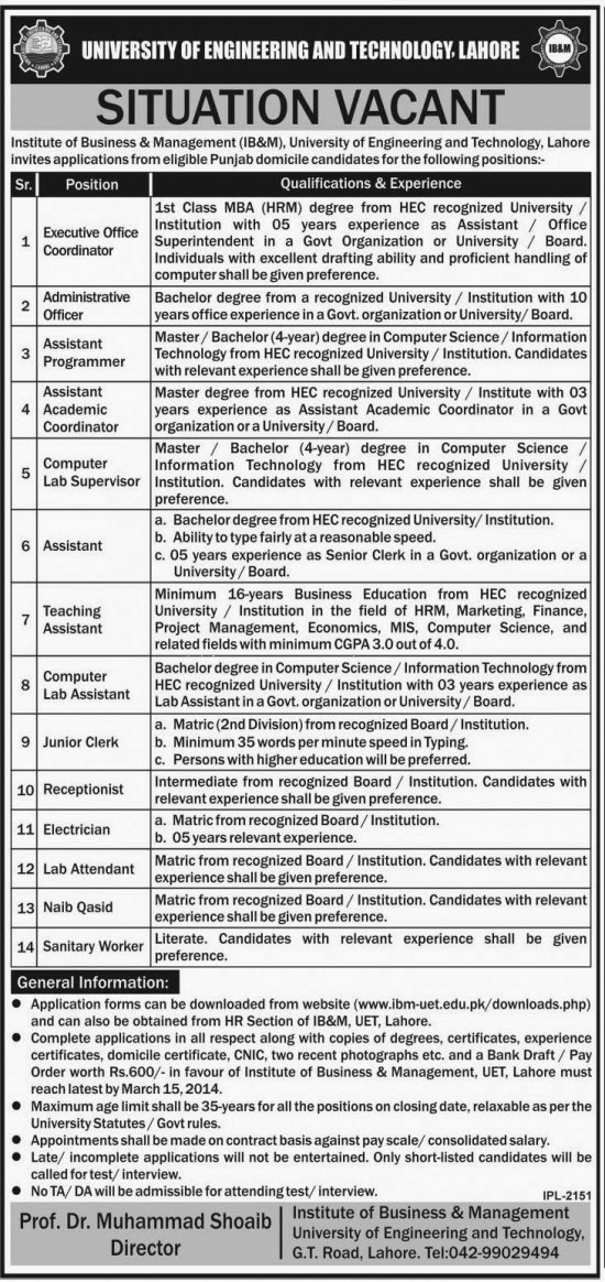 Jobs in University of Engineering & Technology, Lahore