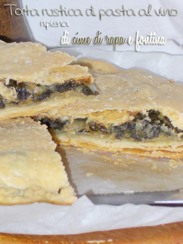 Particolare, torta rustica di pasta al vino ripiena di cime di rapa e fontina