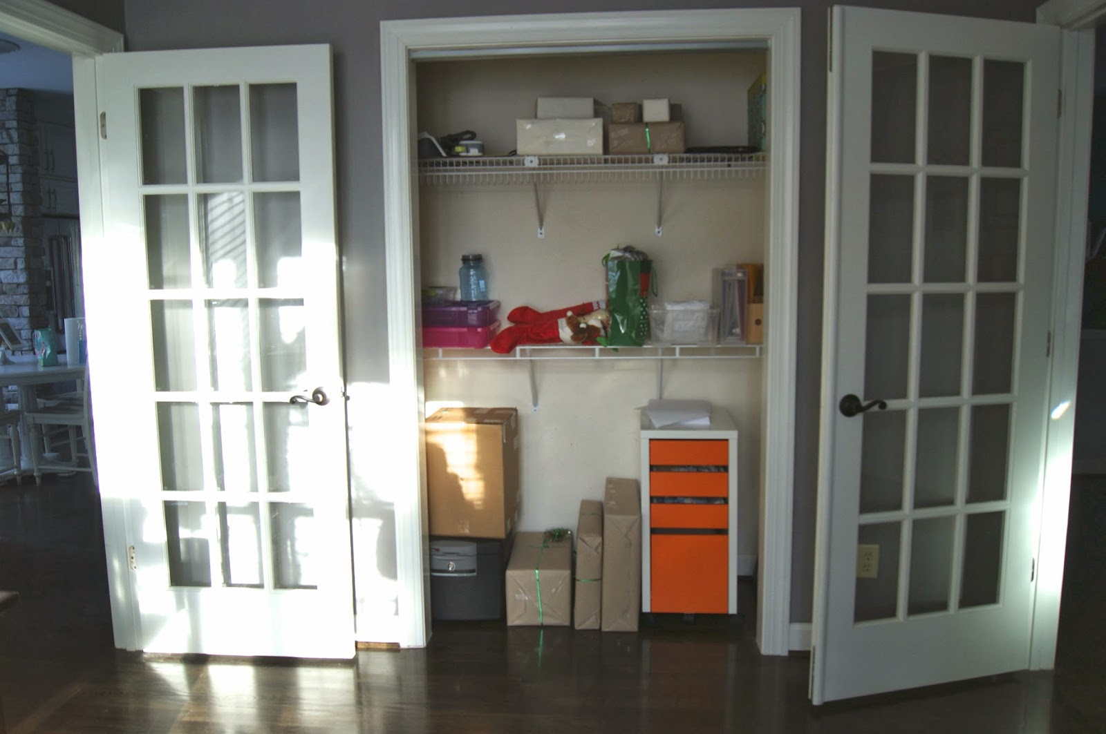 besides the wall with the desk above is the only other wall so enter our closet