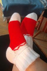 Mikulás zokni kézzel kötve a hideg ünnepekre