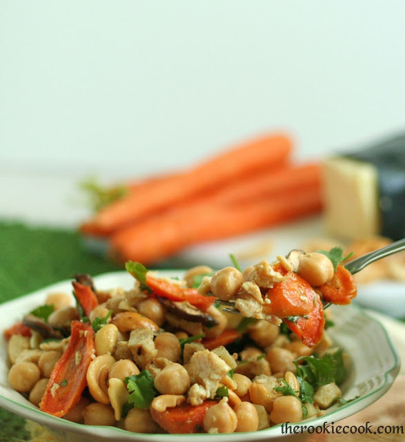 Chickpea Salad with Roasted Carrots and Cashews ~ The Rookie Cook #healthy
